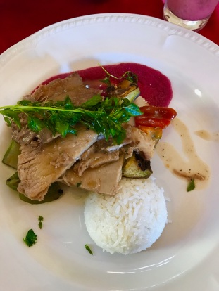 Lunch: Pork with rice and grilled veggies