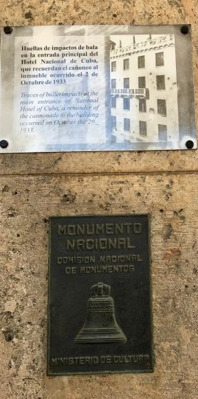 Hotel Nacional plaque